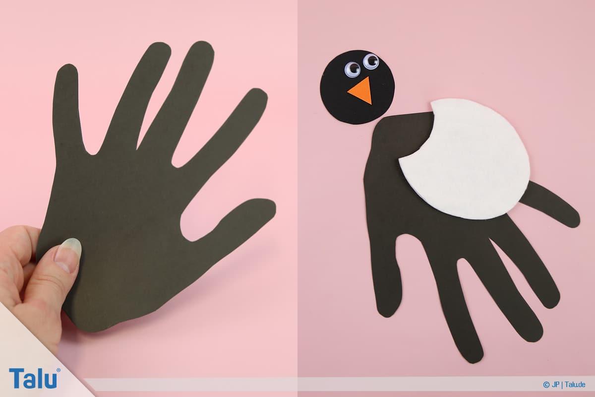 Pinguin basteln mit Kindern, Anleitung, Pinguin aus Handabdruck, Einzelteile