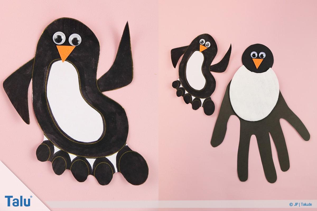 Pinguin basteln mit Kindern, Anleitung, Pinguin aus Fußabdruck, fertiger Pinguin, Variante 4