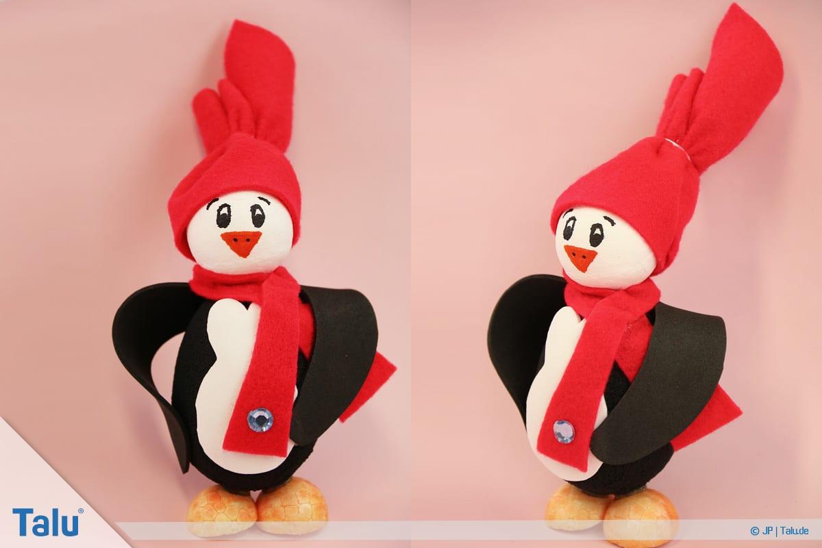 Pinguin basteln mit Kindern, Anleitung, Pinguin aus Plastik-Osterei, fertiger Pinguin, Variante 5