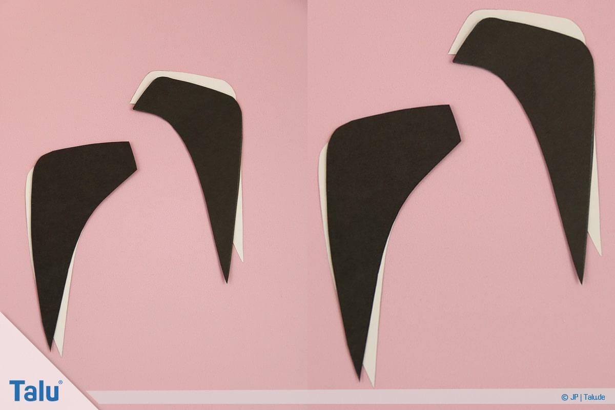 Pinguin basteln mit Kindern, Anleitung, Pinguin aus Papier, ausgeschnittene Tonpapier-Flügel