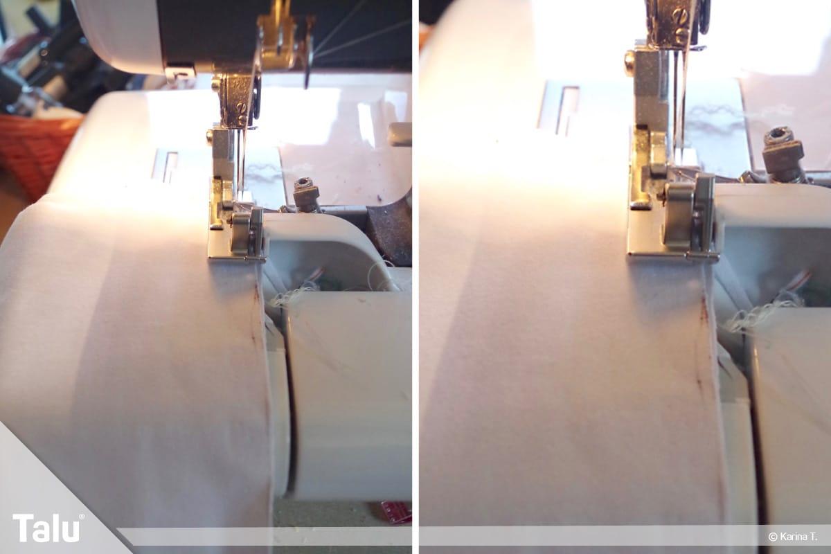 Sitzsack selber machen, Anleitung, Stoffstreifen mit Nähmaschine zusammennähen