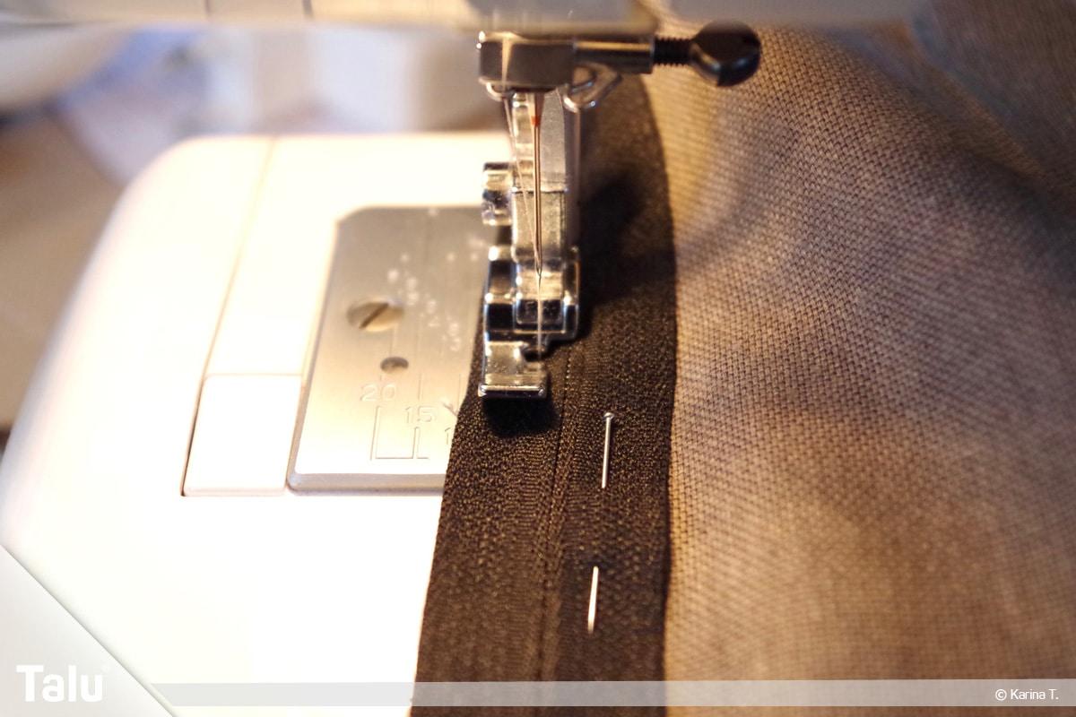 Sitzsack selber machen, Anleitung, Nähmaschine mit Reißverschlussfüßchen