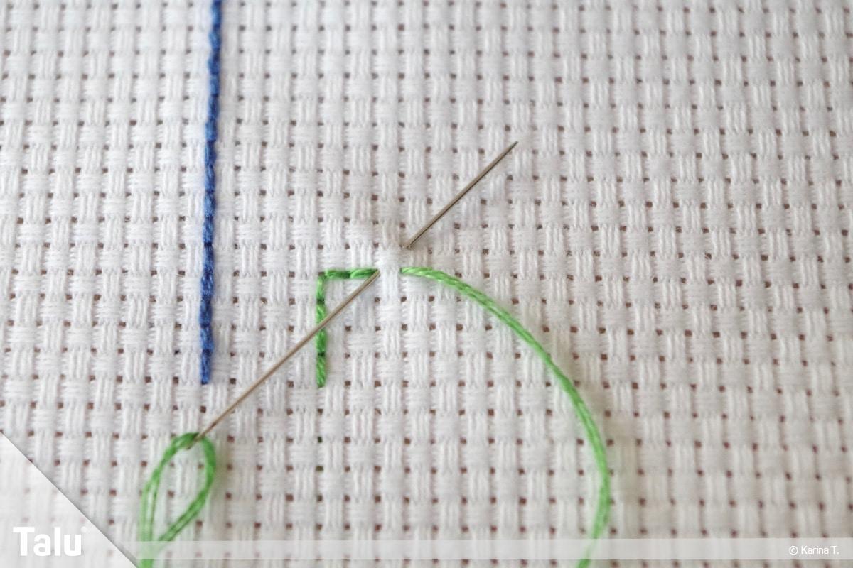 Steppstich/Rückstich, DIY-Anleitung, Steppstich beim Sticken, genähte Steppnaht-Ecke