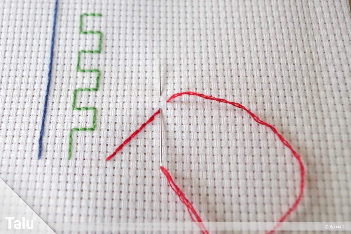 Steppstich/Rückstich, DIY-Anleitung, Steppstich beim Sticken, gestickte Steppstich-Diagonale