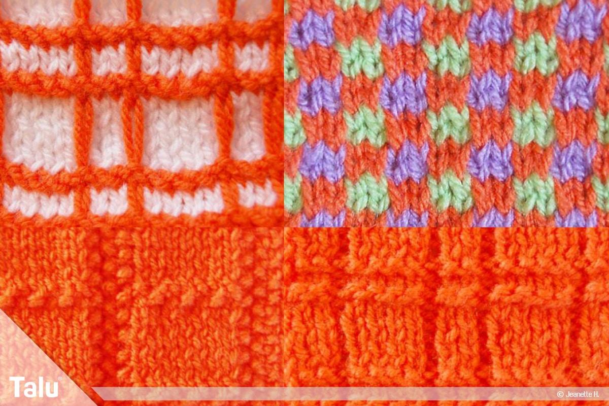 Strickmuster für Pullis, Pullover-Muster, Karomuster