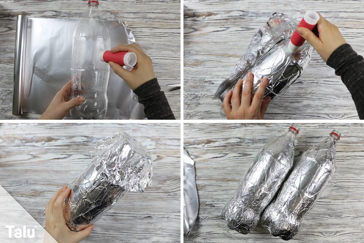 Flasche mit Alufolie bekleben
