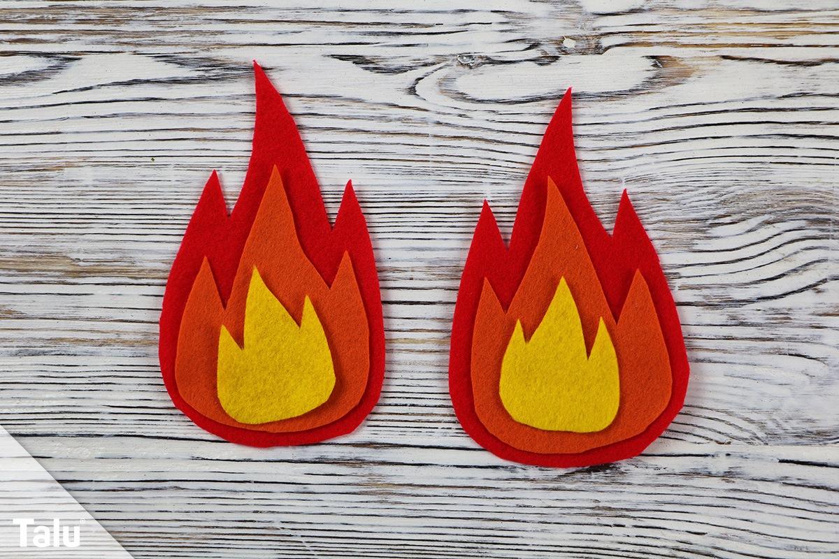 Flammen basteln aus Filz