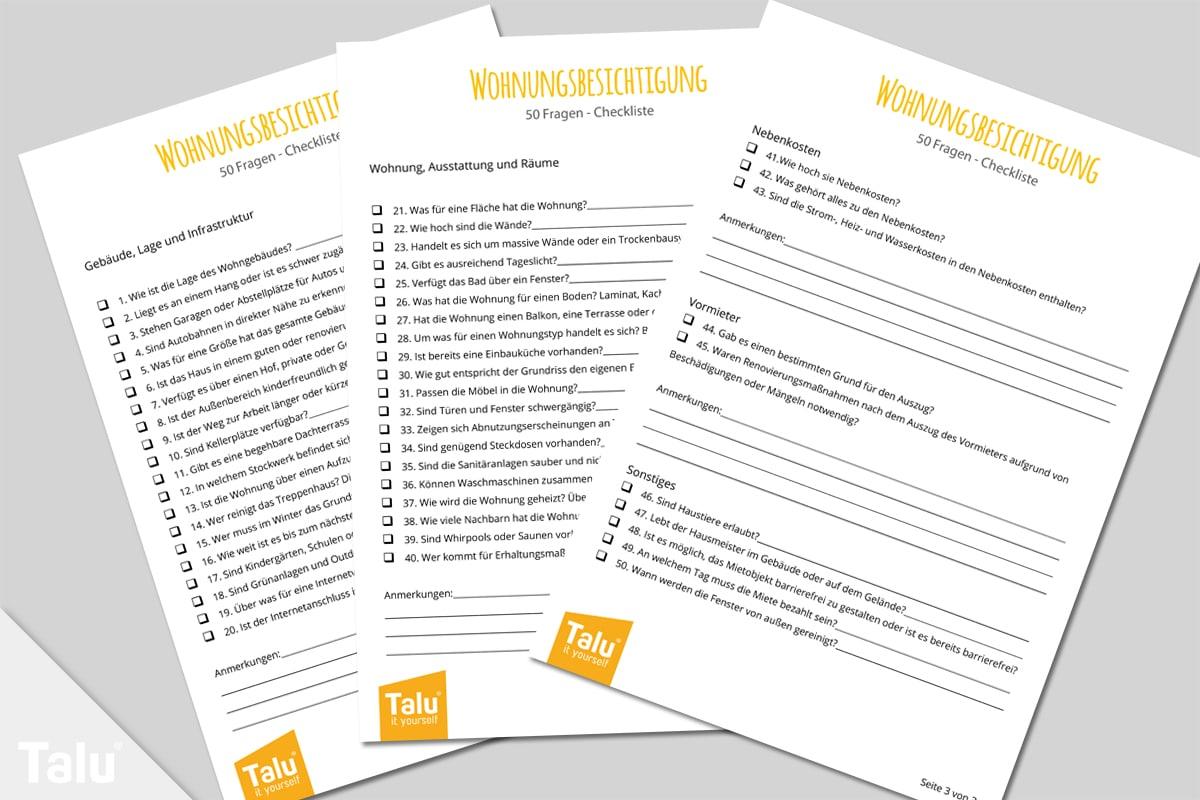 Checkliste für Wohnungsbesichtigung