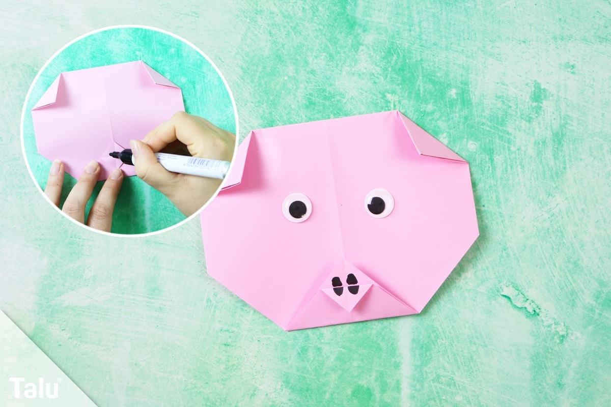 Origami Schwein falten